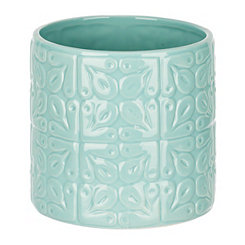 Embossed Light Blue Utensil Holder