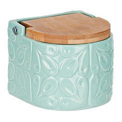 Embossed Light Blue Salt Box