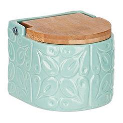 Embossed Light Blue Salt Box