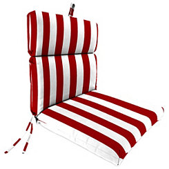 Classic Stripe Red Outdoor Chaise Lounge Cushion