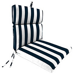 Classic Stripe Navy Outdoor Chaise Lounge Cushion