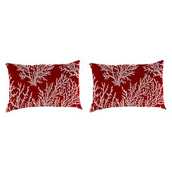 Sea Coral Red Outdoor Accent Pillows, Set of 2
