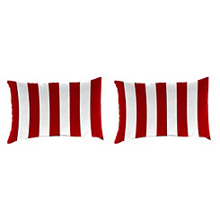 Red Stripe Outdoor Accent Pillows, Set of 2