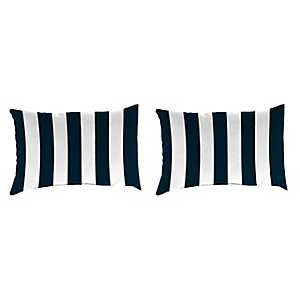 Navy Stripe Outdoor Accent Pillows, Set of 2