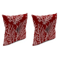 Sea Coral Red 16 in. Outdoor Pillows, Set of 2