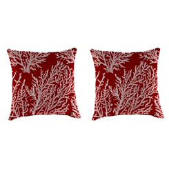 Sea Coral Red 18 in. Outdoor Pillows, Set of 2