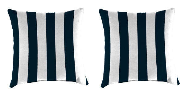 Navy Stripe 18 In. Outdoor Pillows, Set Of 2