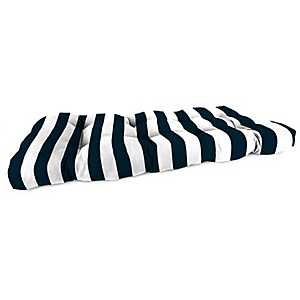 Classic Stripe Navy Outdoor Settee Cushion, 46 in.