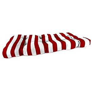 Classic Stripe Red Outdoor Settee Cushion, 44 in.