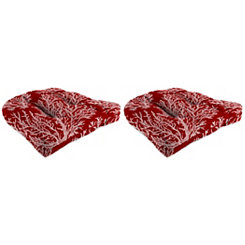 Sea Coral Red 19 in. Outdoor Cushions, Set of 2