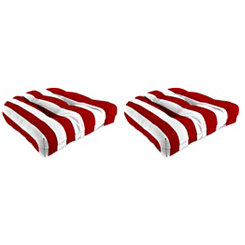 Red Stripe 19 in. Outdoor Cushions, Set of 2
