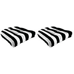Black Stripe 19 in. Outdoor Cushions, Set of 2