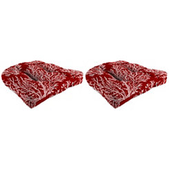 Sea Coral Red 18 in. Outdoor Cushions, Set of 2