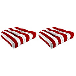 Red Stripe 18 in. Outdoor Cushions, Set of 2