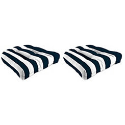 Navy Stripe 18 in. Outdoor Cushions, Set of 2