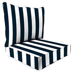 Navy Stripe 2-pc. Outdoor Chair Cushion Set