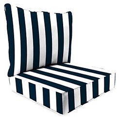 Navy Stripe 2-pc. Outdoor Chair Cushion Set