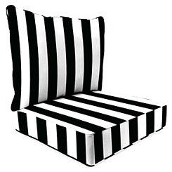 Black Stripe 2-pc. Outdoor Chair Cushion Set