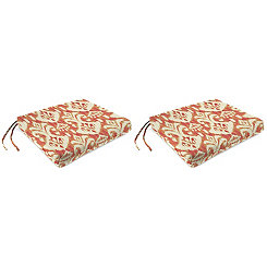 Rivoli Coral Outdoor Chair Pads, Set of 2