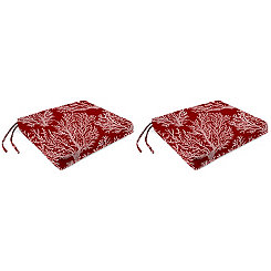 Sea Coral Red Outdoor Chair Pads, Set of 2