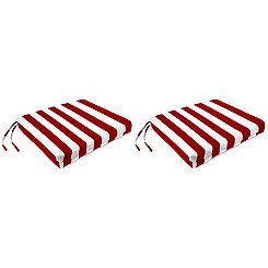 Red Stripe Outdoor Chair Pads, Set of 2
