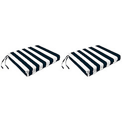 Navy Stripe Outdoor Chair Pads, Set of 2