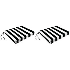 Black Stripe Outdoor Chair Pads, Set of 2