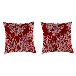 Sea Coral Red Outdoor Pillows, Set of 2