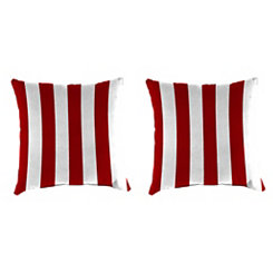 Red Stripe Outdoor Pillows, Set of 2