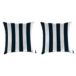 Navy Stripe Outdoor Pillows, Set of 2