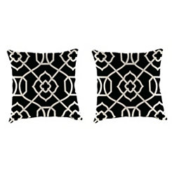 Kirkland Black Outdoor Pillows, Set of 2