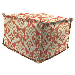 Large Rivoli Coral Square Outdoor Pouf