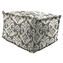 Rivoli Graphite Fringe Square Outdoor Pouf