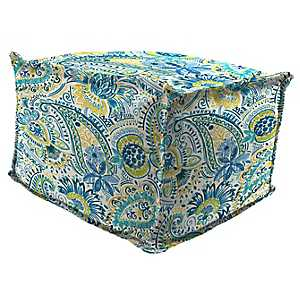 Gilford Baltic Fringe Square Outdoor Pouf