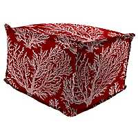 Sea Coral Red Fringe Square Outdoor Pouf
