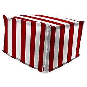 Classic Stripe Red Fringe Square Outdoor Pouf