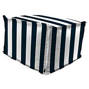 Classic Stripe Navy Fringe Square Outdoor Pouf