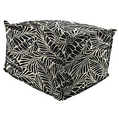 Malkus Ebony Fringe Square Outdoor Pouf