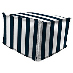 Classic Stripe Navy Square Outdoor Pouf