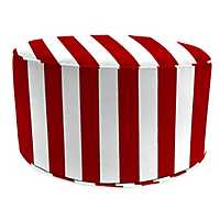 Classic Stripe Red Round Outdoor Pouf