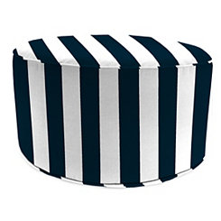Classic Stripe Navy Round Outdoor Pouf