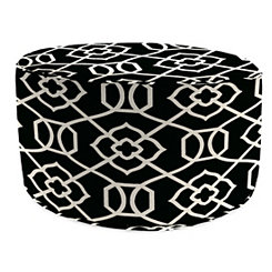 Kirkland Black Round Outdoor Pouf