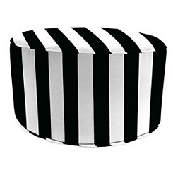 Black Stripe Round Outdoor Pouf
