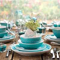 16 Piece Fez Turquoise Medallion Dinnerware Set