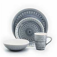 Fez Gray Medallion 16 Piece Dinnerware Set