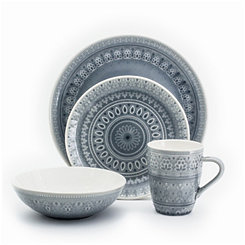 Fez Gray Medallion 16-pc. Dinnerware Set