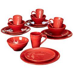 Algarve Red Dot 16-pc. Dinnerware Set
