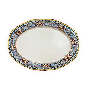 Duomo Blue Scroll Oval Platter