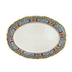 Duomo Blue Scroll Oval Platter