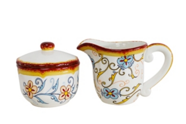 Duomo Blue Scroll Creamer and Sugar Bowl Set
